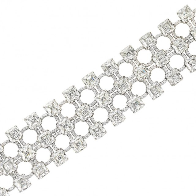 Three Row Platinum and Diamond Bracelet, by Daniel K for Jacob & Co.