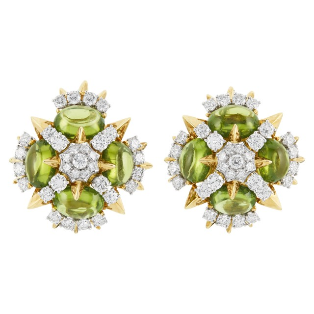 Pair of Gold, Platinum, Peridot and Diamond Earclips, Tiffany & Co.