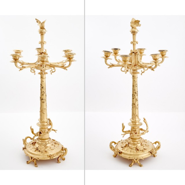 Pair of Christofle Gilt-Metal Six-Light Candelabra