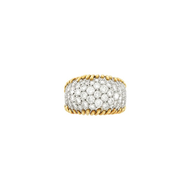 Gold, Platinum and Diamond Bombé Ring