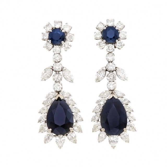 Pair of White Gold, Sapphire and Diamond Pendant-Earclips