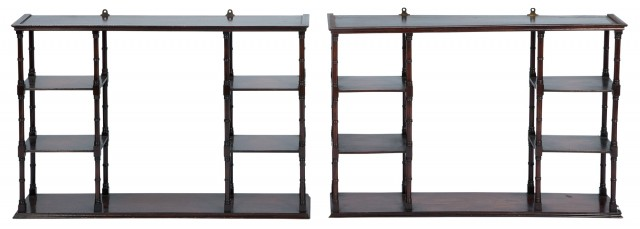 Pair of George III Style Mahogany Hanging Shelves