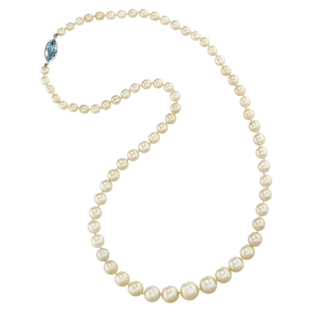 Graduated Natural Pearl Necklace with Platinum and Aquamarine Clasp