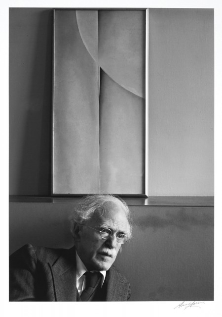ADAMS, ANSEL (1902-1984)  Alfred Stieglitz and Painting by Georgia O\'Keeffe, at An American Place, New York City,