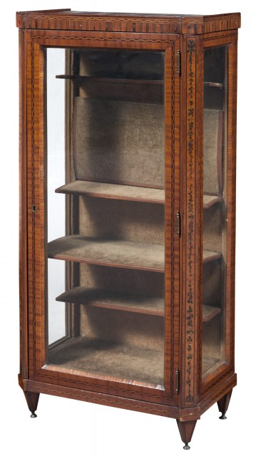 Dutch Walnut, Marquetry and Part-Painted Display Cabinet