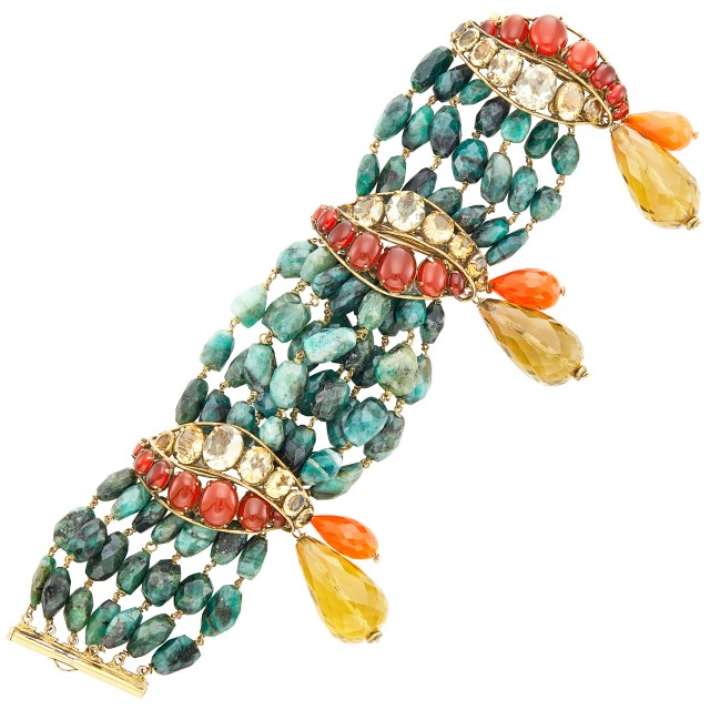Iradj Moini Multistrand Emerald Bead and Colored Stone Bracelet