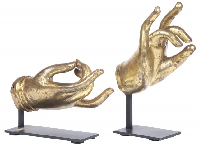 Two Southeast Asian Gilt Patinated Metal 'Hands of Buddha'