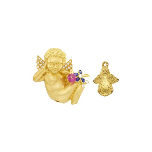 Gold, Ruby Bead, Sapphire and Diamond Cherub Clip