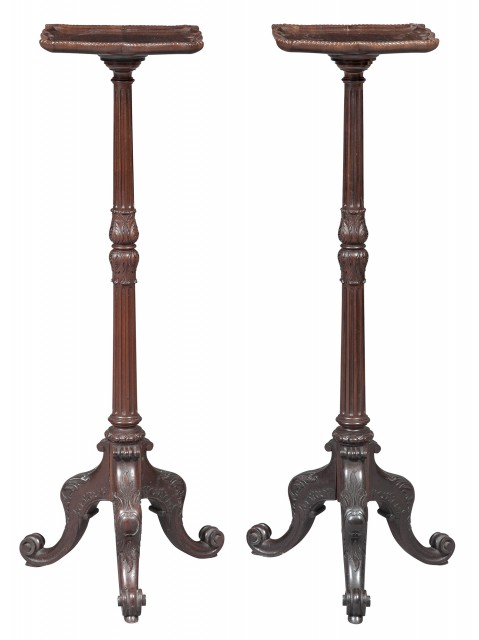 Pair of William IV Mahogany Plant Stands