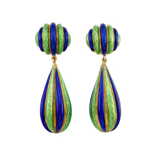 Pair of Gold and Royal Blue and Lime Green Enamel Pendant-Earclips