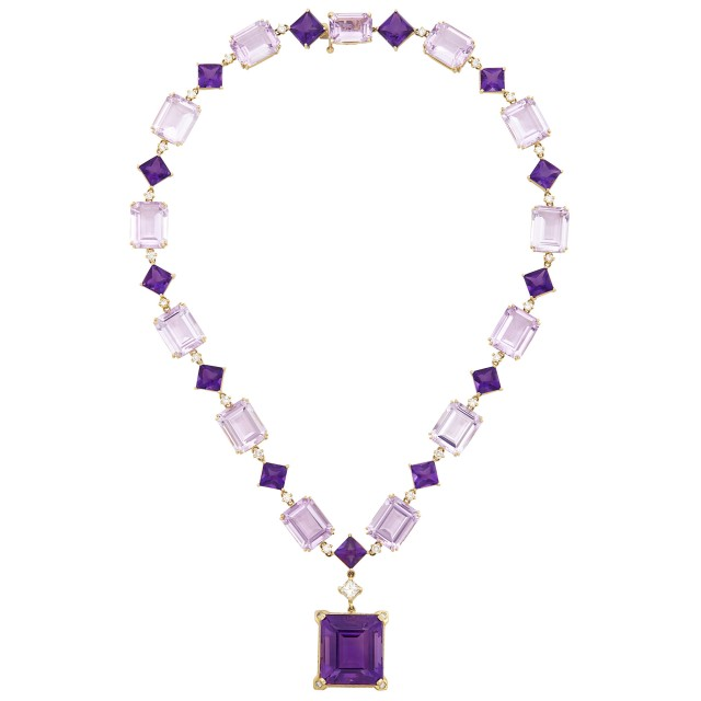 Gold, Amethyst, 'Rose de France' Amethyst, Cabochon Amethyst and Diamond Pendant-Necklace