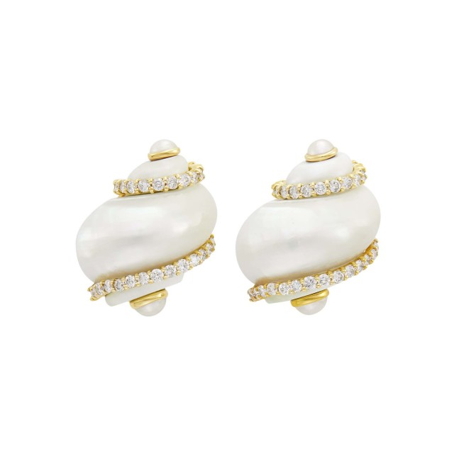 Seaman Schepps Pair of Gold, Diamond and 'Turbo Shell' Earclips