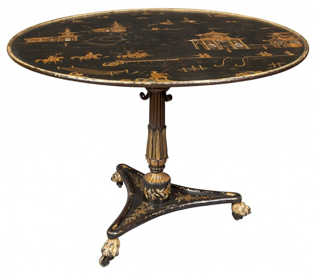 Continental Japanned and Parcel-Gilt Tôle Center Table