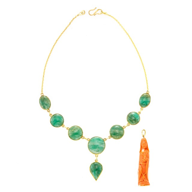 Silver-Gilt and Aventurine Quartz Necklace and Carved Coral and Gold Pendant