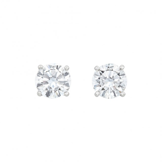 Pair of White Gold and Diamond Stud Earrings, Cartier