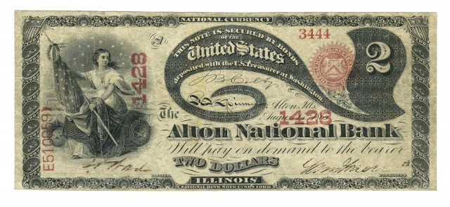United States $2 1865 Lazy Deuce National Bank Note, Fr. 387