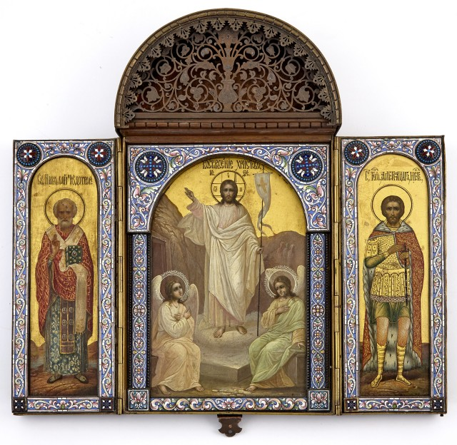 Russian Patinated Metal and Cloisonné Enamel Triptych Icon
