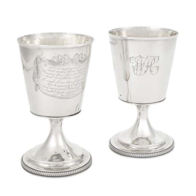 Pair of George III Sterling Silver Goblets