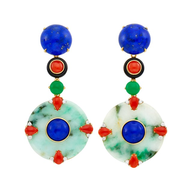 Pair of Gold, Jade, Lapis, Coral, Black Onyx, Green Onyx and Diamond Pendant-Earclips