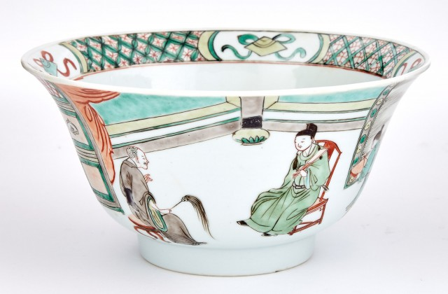 Chinese Famille Verte Glazed Porcelain Bowl