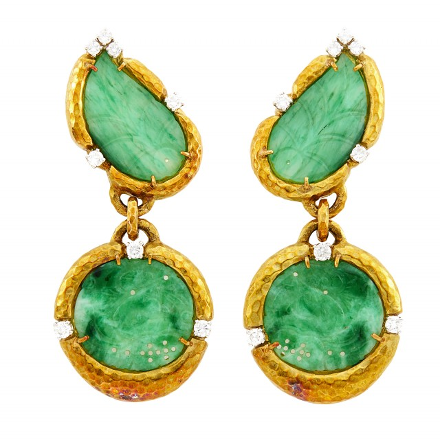 David Webb Pair of Hammered Gold, Platinum, Carved Jade and Diamond Pendant-Earclips