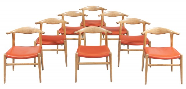 Set of Eight Hans Wegner Upholstered Oak Cowhorn