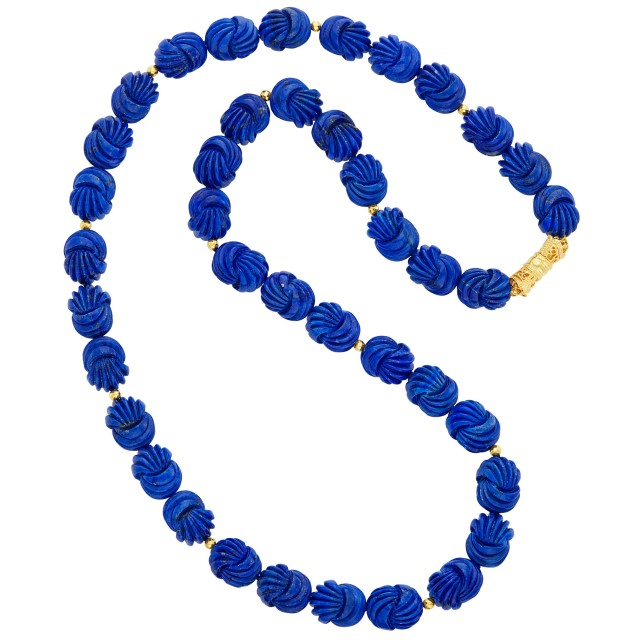 Carved Lapis Bead Necklace with Gilt-Metal Magnetic Clasp