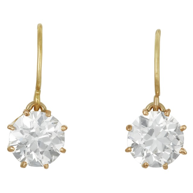 Pair of Gold and Diamond Drop Earrings