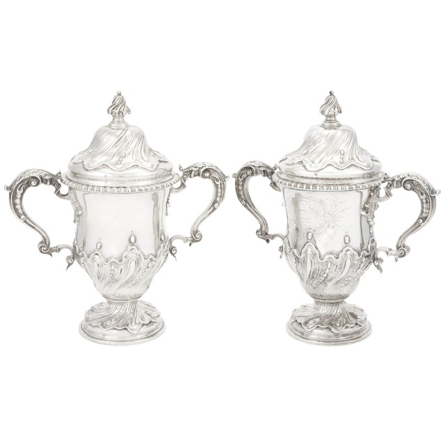 Pair or George III Sterling Silver Covered Cups