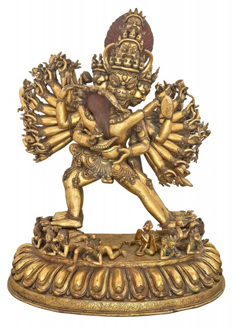 Tibetan Gilt-Bronze Figure of Vajrabhairava and Vajra Vetali