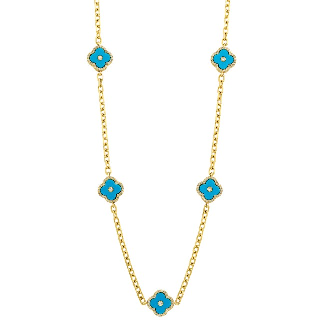 Long Gold, Turquoise Composite and Diamond Chain Necklace