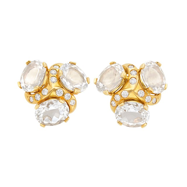 Pair of Gold, Rock Crystal and Diamond Earclips, Verdura