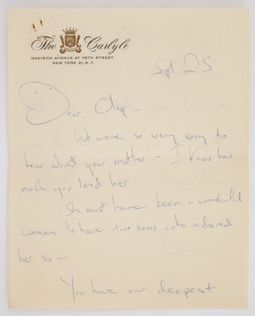 KENNEDY, JACQUELINE as FIRST LADY  Autograph letter signed to Oleg Cassini upon the death of his mother.
