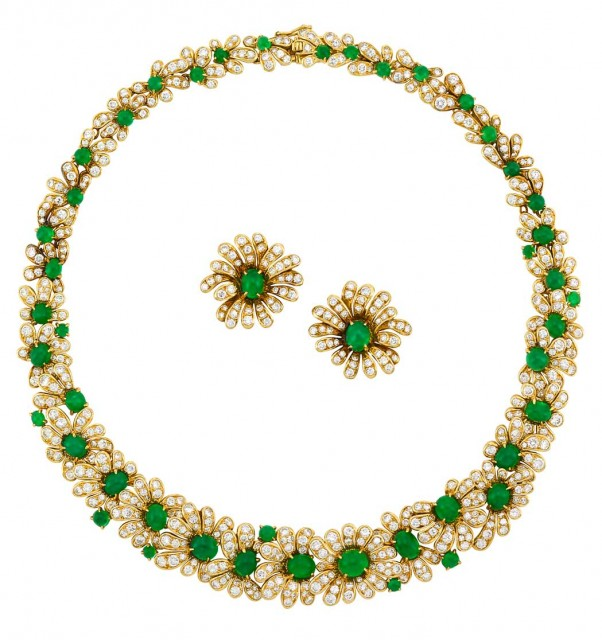 Gold, Cabochon Emerald and Diamond Necklace and Pair of Earclips, Van Cleef and Arpels, France