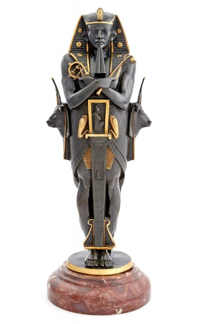 Gilt and Patinated Bronze Figure of an Ancient Egyptian Pharoah