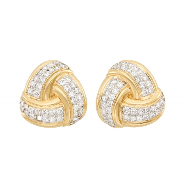 Pair of Two-Color Gold and Diamond Knot Earrings