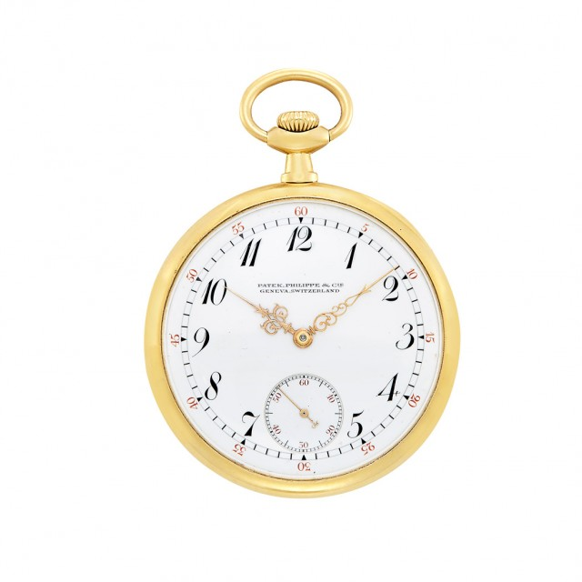 Gold Open Face Pocket Watch, Patek Philippe, Made for Shreve, Crump & Low