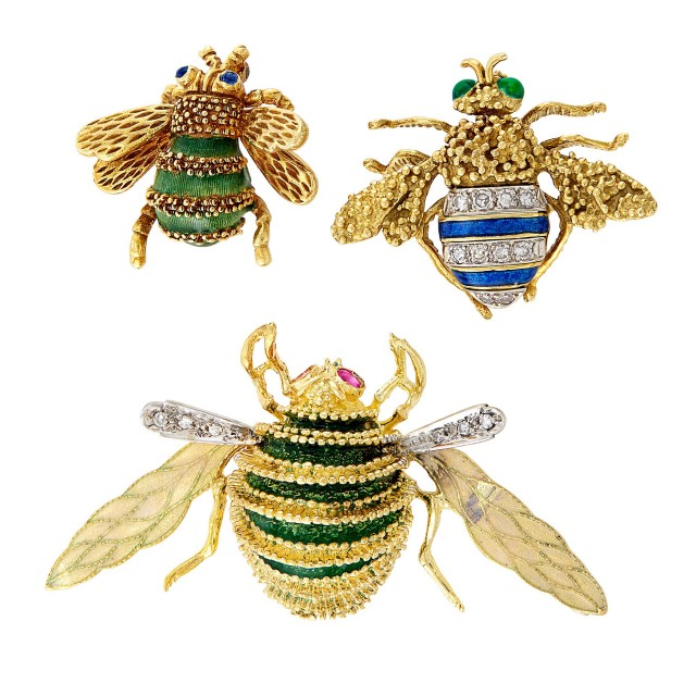Three Gold, Enamel and Diamond Insect Pins