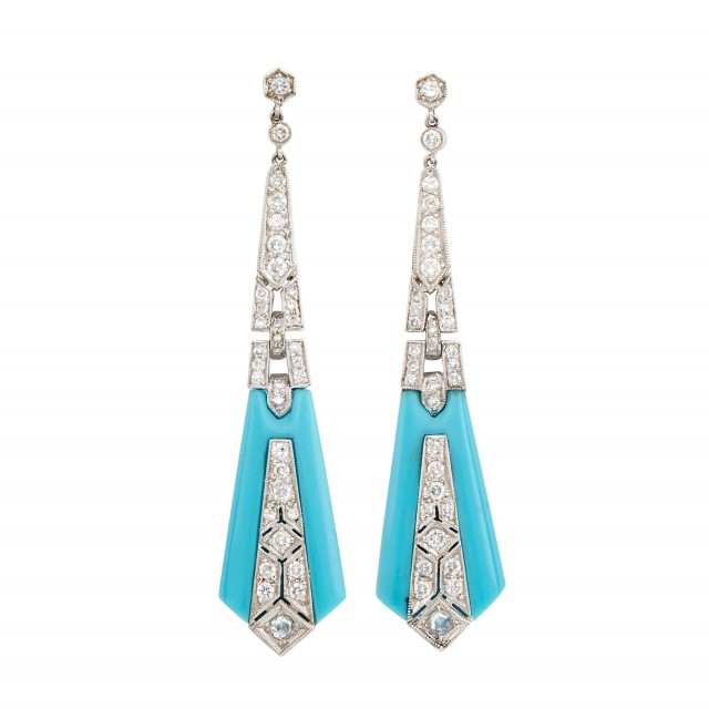 Pair of Platinum, Turquoise and Diamond Pendant-Earrings