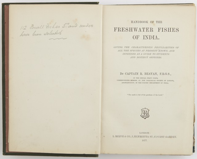 BEAVAN, CAPTAIN R.  Handbook of The Freshwater Fishes of India...