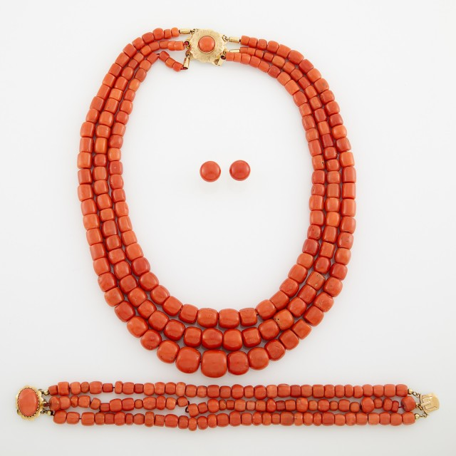 Triple Strand Coral Bead Necklace, Bracelet and Pair of Earclips