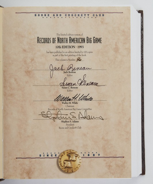 [BOONE AND CROCKETT CLUB]  Records of North American Big Game. A book of the Boone and Crockett Club containing tabulations of outstanding North American big-game trophies, compiled from data in the club's big-game records archives.