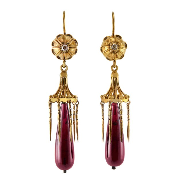 Pair of Antique Gold, Diamond and Garnet Pendant-Earrings