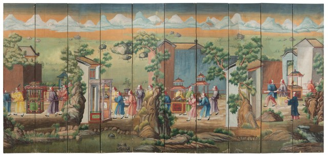 Chinese Export Ten-Panel Painted Wallpaper Screen