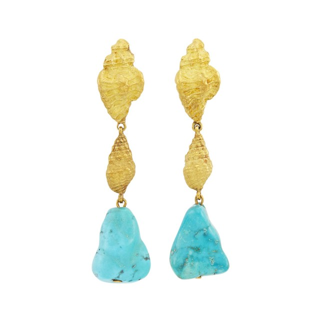 David Webb Pair of Gold and Turquoise Nugget Pendant-Earclips