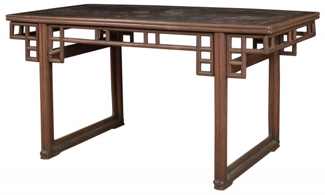 A Chinese Hardwood Trestle Leg Table with Inset Lacquer Panel