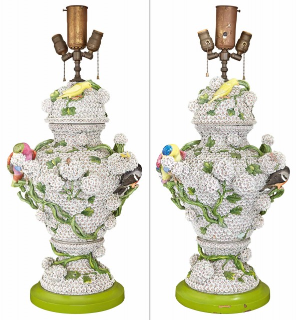 Pair of Continental \'Schneeballen\' Porcelain Vases and Covers