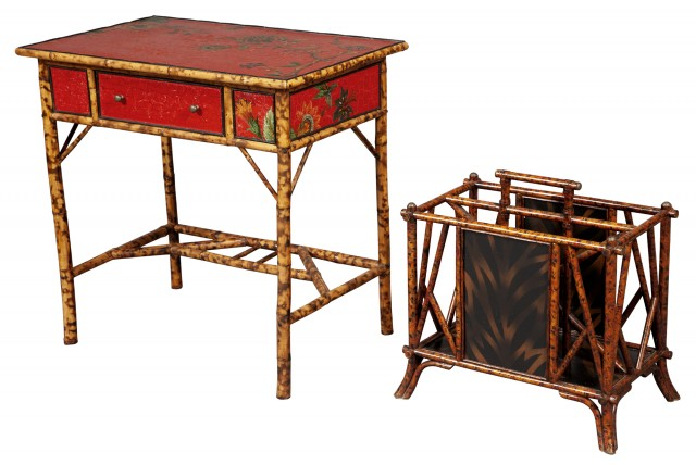 Red Lacquer and Bamboo Side Table