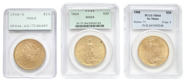 United States Three $20 Gold Coins PCGS Graded