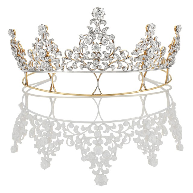 Edwardian Platinum-Topped Gold and Diamond Convertible Tiara-Necklace-Brooches, Circa 1900